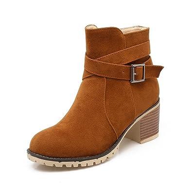 AllhqFashion Damen Rein Blend-Materialien Rund Zehe Reißverschluss Stiefel, Cremefarben, 34