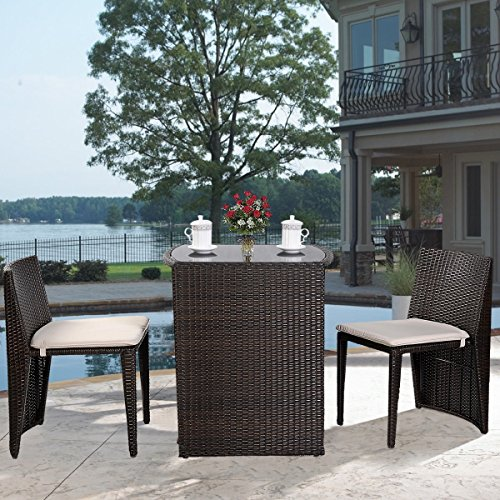 (Global Group Outdoor Furniture - Patio Wicker Dining Table and Chairs With Cushions Set 3 Piece Brown - All-Weather - Great for Backyard Porch Garden and Balcony - Free Gift eBook)