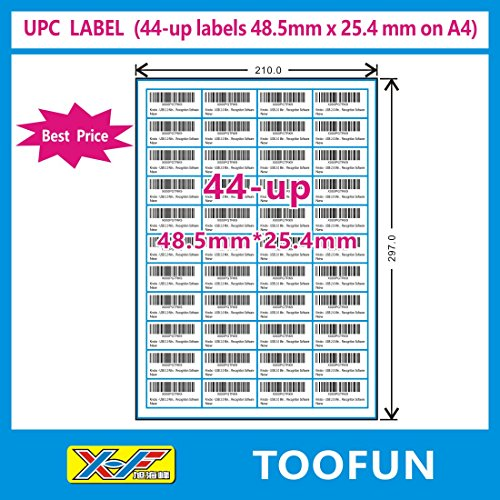 Amazon FBA Label (100 Sheets, 4400 Labels) 44-up labels 48.5*25.4mm on A4 White Self Adhesive Shipping Mailing stickers for Laser/InkJet Printer, Meets Amazons FBA requirements- TOOFUN