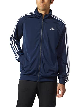 Adidas Men's Essential 3 Stripe Tricot Track Jacket - Big & Tall, Collegiate  Navy/