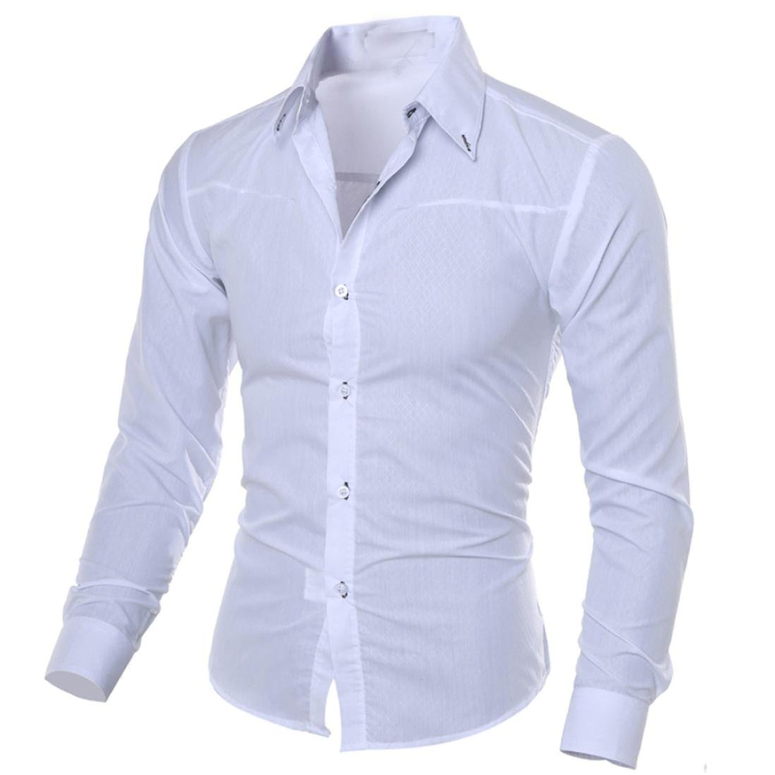Easytoy Mens Classic Slim Fit Shirts Breathable Long Sleeve Button Down Business Dress Shirt (White, S)