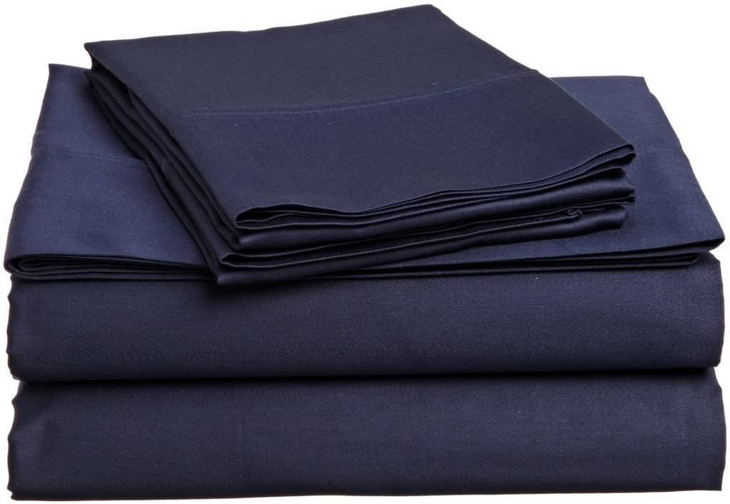 "Way Fair Sheet Set Twin Extra Long Size Navy Blue Solid 100% Cotton 600 Thread-Count (15"" Deep Pocket Drop) by"