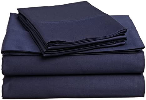 4 Pcs Bed Sheet Set Egyptian Cotton Queen Size - Navy Blue Solid (1 Fitted Sheet, 1 Flat Sheet & 2 Pillow Cover) 6 inch Drop Elastic All Round 400 TC by Mahaveer Cotton