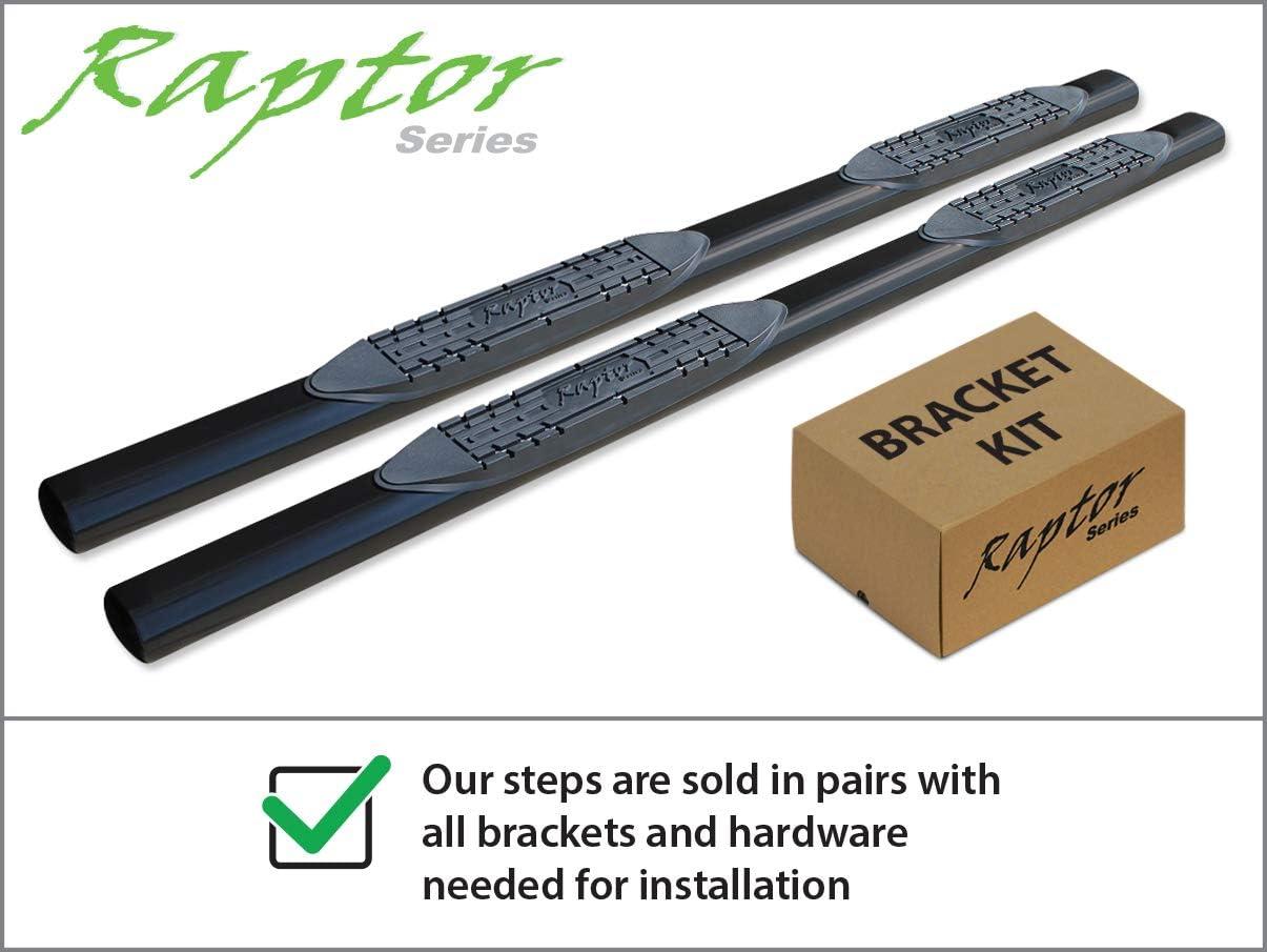 Raptor Series 0703-0055B 4 inch Oval Black Side Bar Steps For 04-08 Ford F-150 SuperCrew Cab 06-08 Lincoln Mark LT