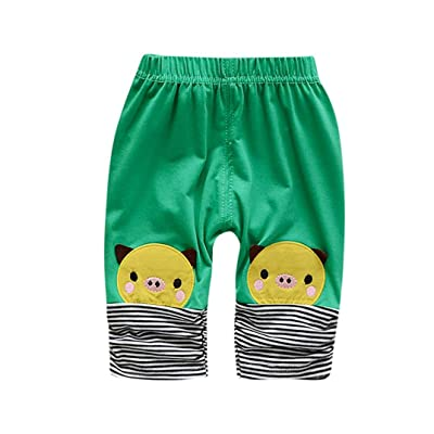 AliveGOT Newborn Infant Baby Clothes Pig Middle Pants Striped Leggings Outfits Patchwork Trousers