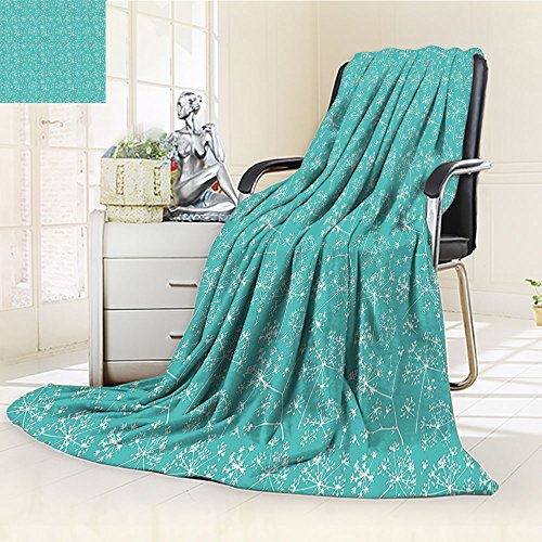 Nalohomeqq Turquoise Custom Collection Delicate Umbrellas Parsley Dill Blossom Wildflower Summertime Plants Pattern Microfiber Fabric Blanket Extra Tiffany Blue White