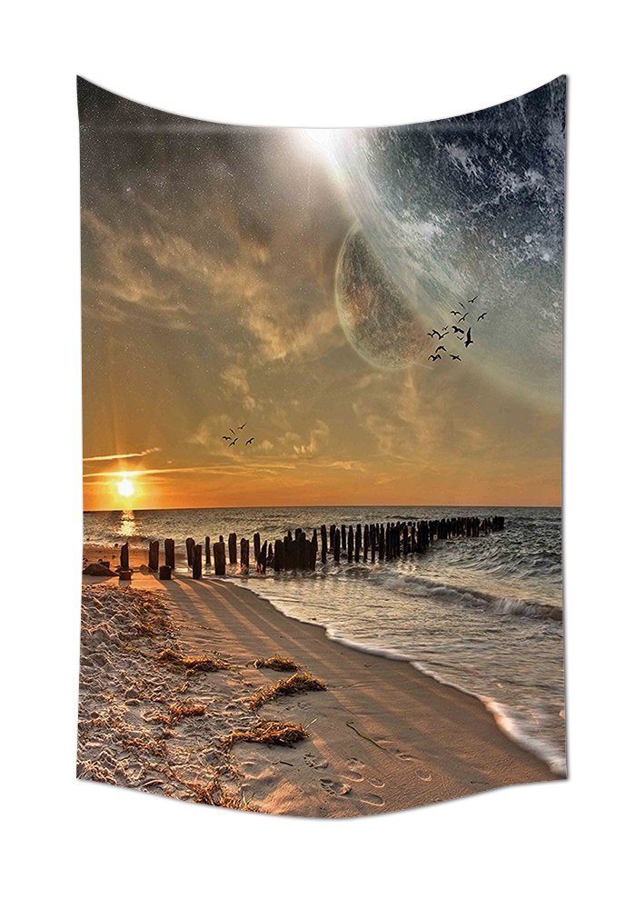 asddcdfdd Space Tapestry Decor Magical Solar Eclipse on Beach Ocean with Horizon Sun Moon Globe Gulls Flying View Wall Hanging for Bedroom Living Room Dorm Cream Orange