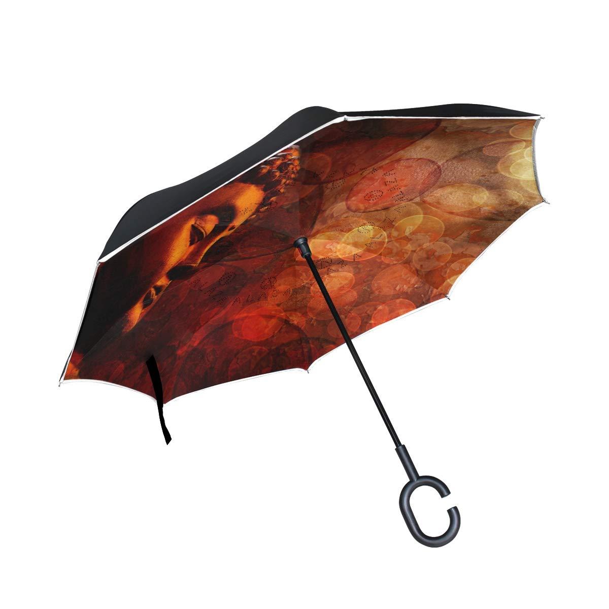 ONELUCA ブロンズ禅仏像 瞑想 ぼやけた車 リバースゴルフ傘 二重層逆折り傘 C型ハンドル アウトドア旅行用   B07S5KQQ8B