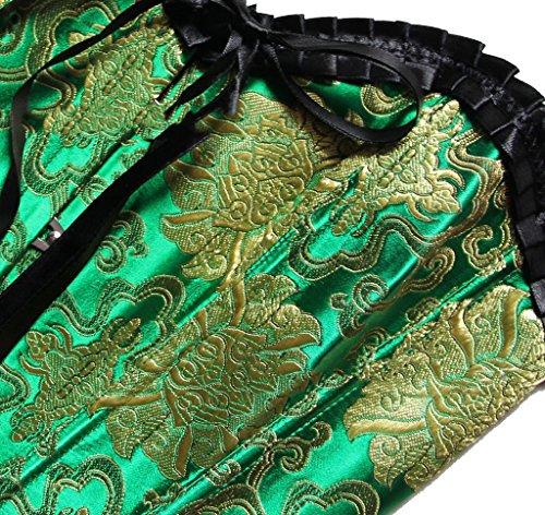 ZAMME La boda del satén de las mujeres ata para arriba el corsé Bustier Top Clubwear Verde