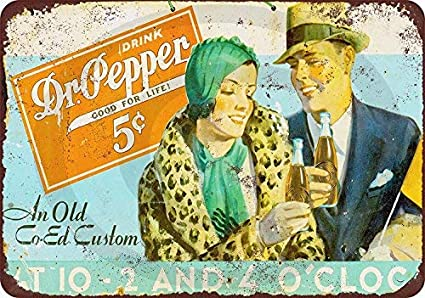 """TIN SIGN /""""Dr Pepper Rust /"""" Beverages Signs Garage Wall Decor"""