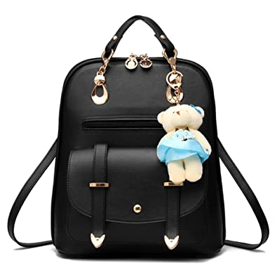 Christmas Gift Sweet PU Leather School College Travel Outdoor Bag Girls  Backpack with Bear Decoration Black a42f92b1cae7e
