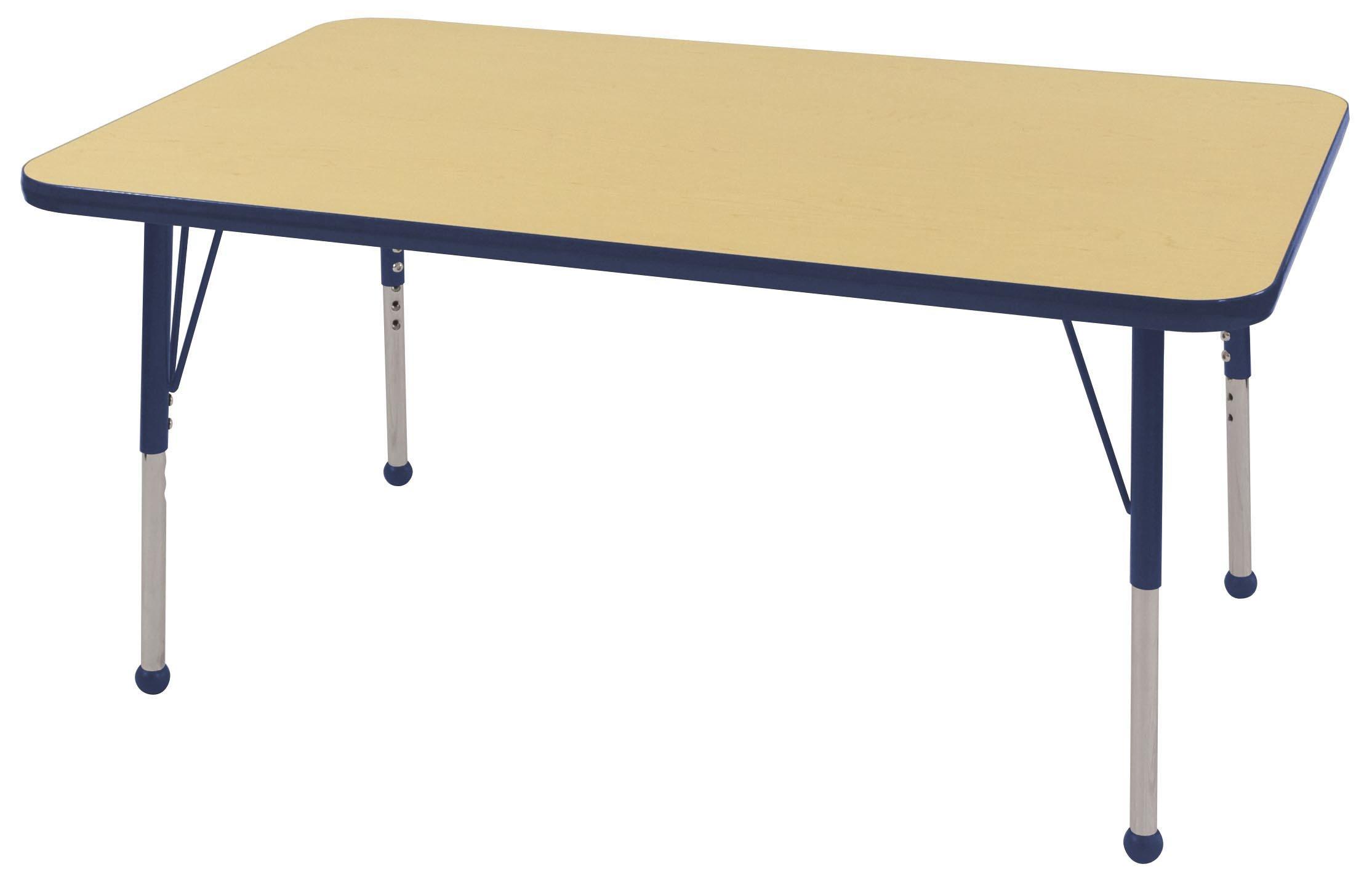ECR4Kids Mesa T-Mold 30'' x 48'' Rectangular School Activity Table, Standard Legs w/ Ball Glides, Adjustable Height 19-30 inch (Maple/Navy)