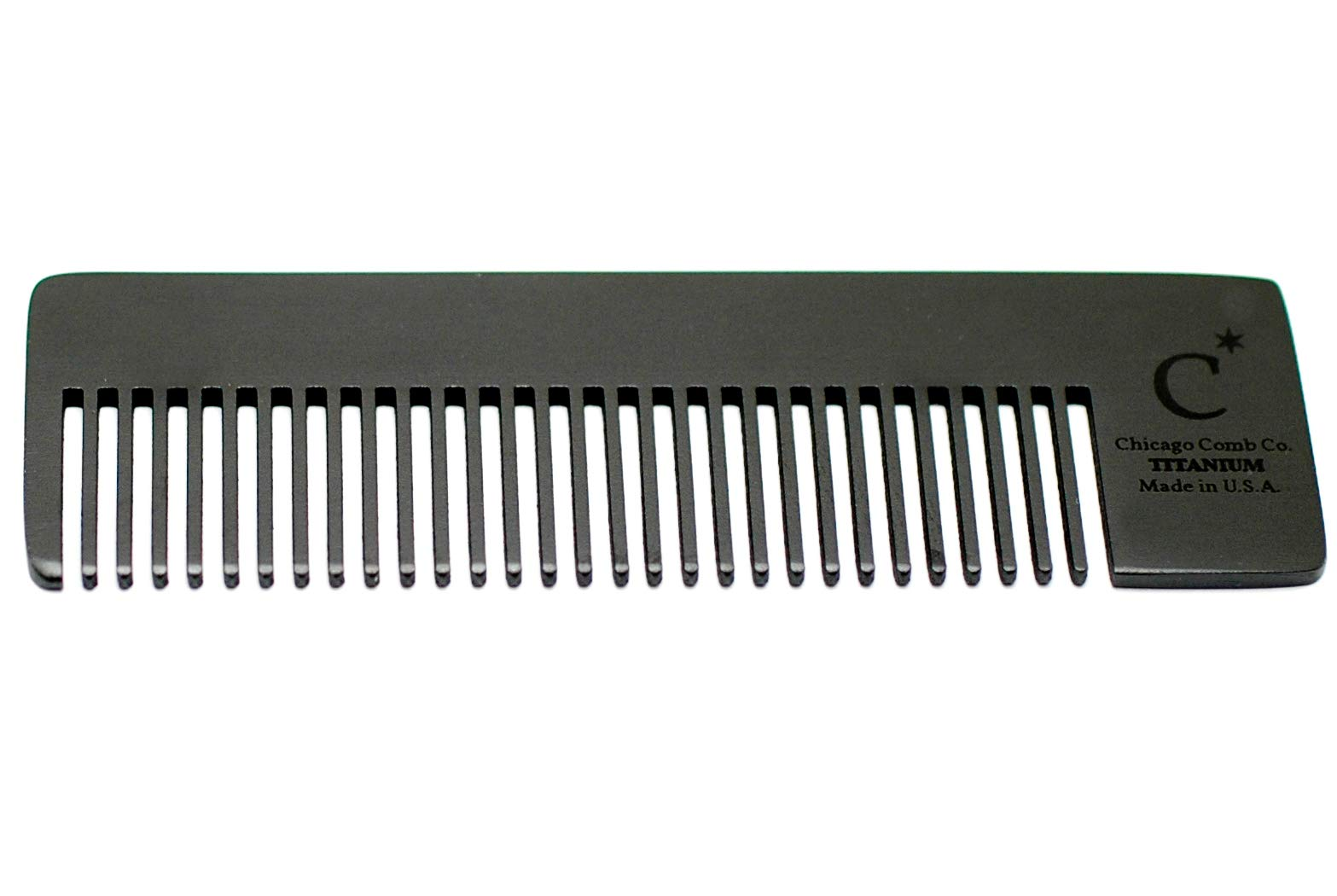 Chicago Comb Model 4 Black Titanium, Made in USA, Ultimate Daily Use Comb, Beard & Mustache, Medium-Fine Tines, Anti-Static, Ultra-Smooth, Strong, Light, 4 in. (10 cm) Long, Pure American Titanium