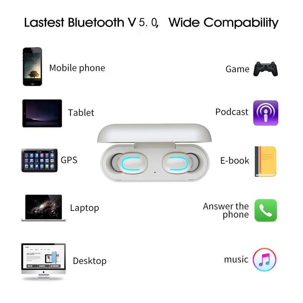 Wireless Earbuds, TWS 5.0 Bluetooth Wireless Headphones Headset True Wireless Earphones Waterproof Bluetooth Earphones with Mic and Charging case for iPhone Samsung iPad and Most Android Phones by Ayans (Image #2)