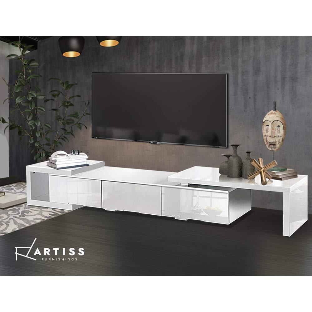 290-WH Artiss Entertainment Unit Wooden TV Stand Cabinets - White