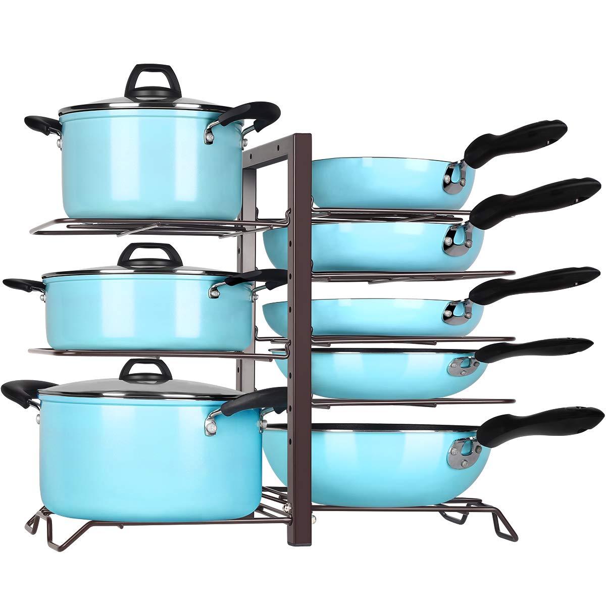 TomCare Pan Organizer Pot Rack Organizer Kitchen Cabinet Organizer Adjustable Height Pots and Pans Organizer Storage with 8 Metal Shelves DIY Pot Holder Lid Organizer Kitchen Cabinet Pantry, Bronze