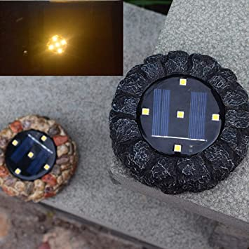 Solar Powered LED Outdoor Garden Lights Buried Waterproof Resin Stone Grass Lamp
