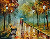 100% Hand Painted Oil Paintings Modern Abstract Art Oil Painting Walking in the Rain Home Wall Decor (24X30 Inch, Wall Arts 3)