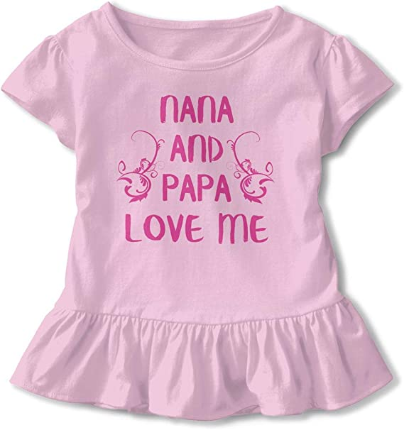 Nana and Papa Love Me Baby Skirts Cute Little Girls Soft Short Sleeve Casual Dress Outfit 2-6 Years.