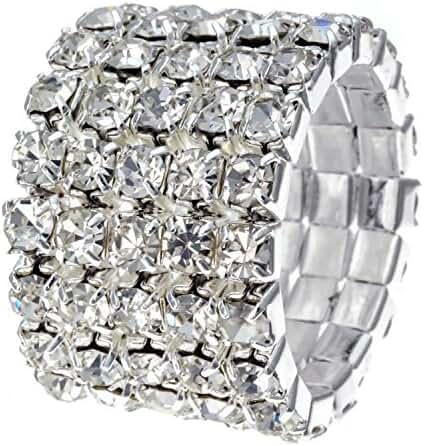 Silvertone Clear Crystal 5-Row Stretch Fashion Ring