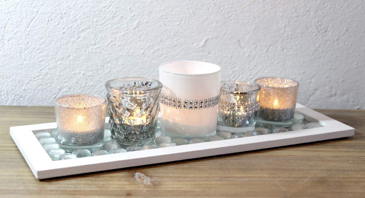 Dekotablett Windlicht Teelichthalter Glas Silber Weihnachtsdeko modern Edel s, f