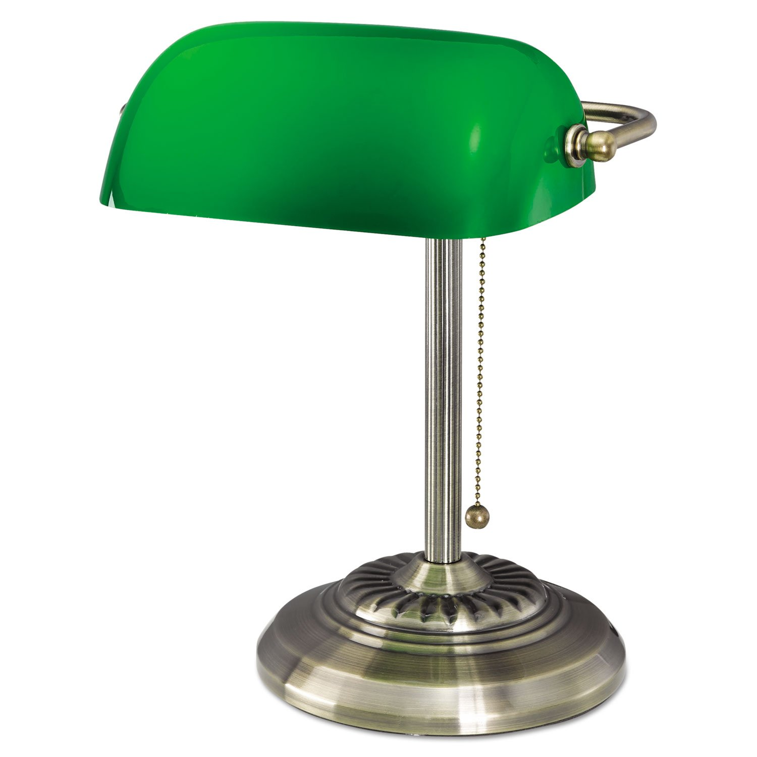 Alera Traditional Incandescent Banker s Lamp, Green Glass Shade, 14 h, Brass Base LMP557AB