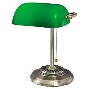 "Alera Traditional Incandescent Banker's Lamp, Green Glass Shade, 14""h, Brass Base LMP557AB"