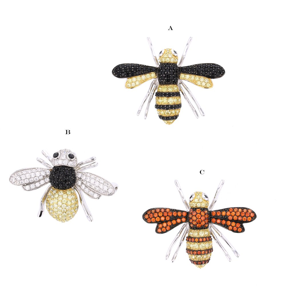 Bee Pendant, Silver & Cubic Zirconia Bee Pin /Pendant Cambo (Orange Wings)