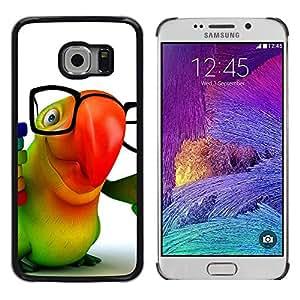 TopCaseStore / la caja del caucho duro de la cubierta de protección de la piel - Parrot Glasses Colorful Animation Hipster 3D - Samsung Galaxy S6 EDGE SM-G925
