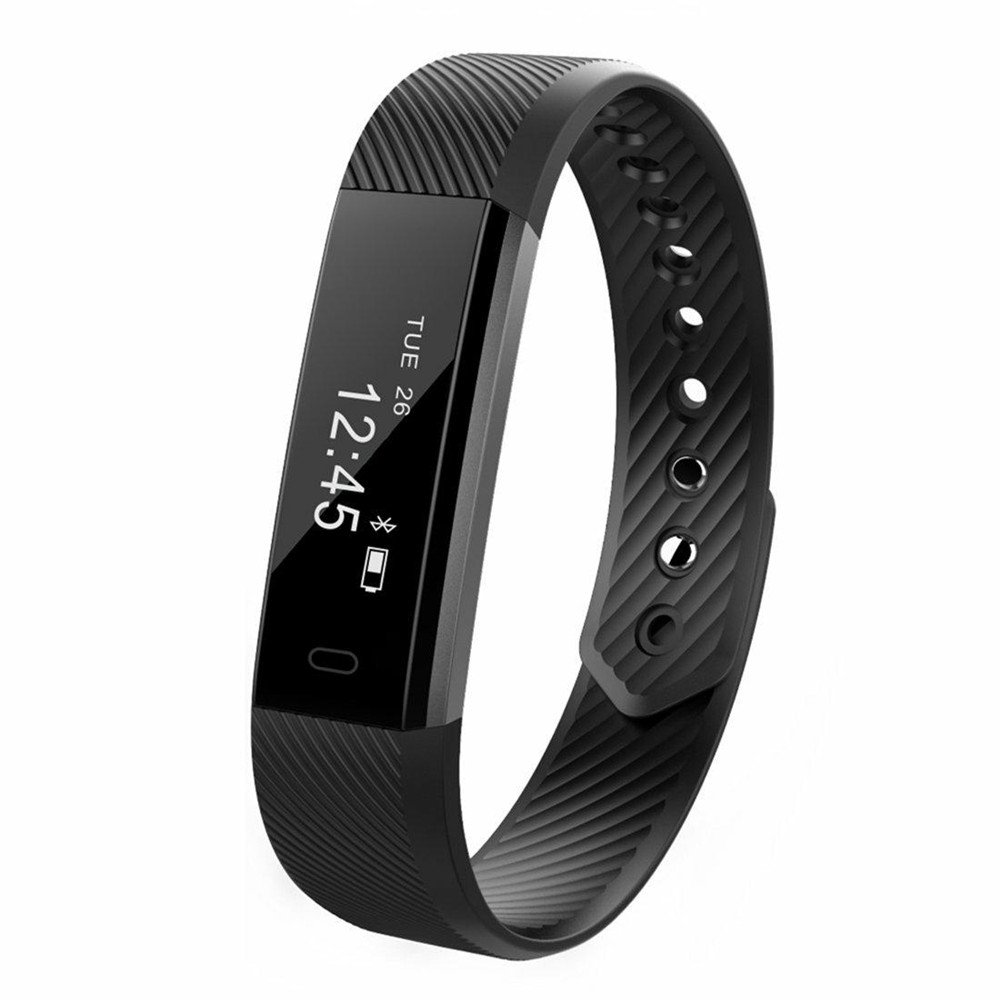 Kybeco Fitness Tracker Water Resistant Smart Activity Wristband with Pedometer Calorie Tracking Sleep Monitoring for iPhone and Android Phone (Black)