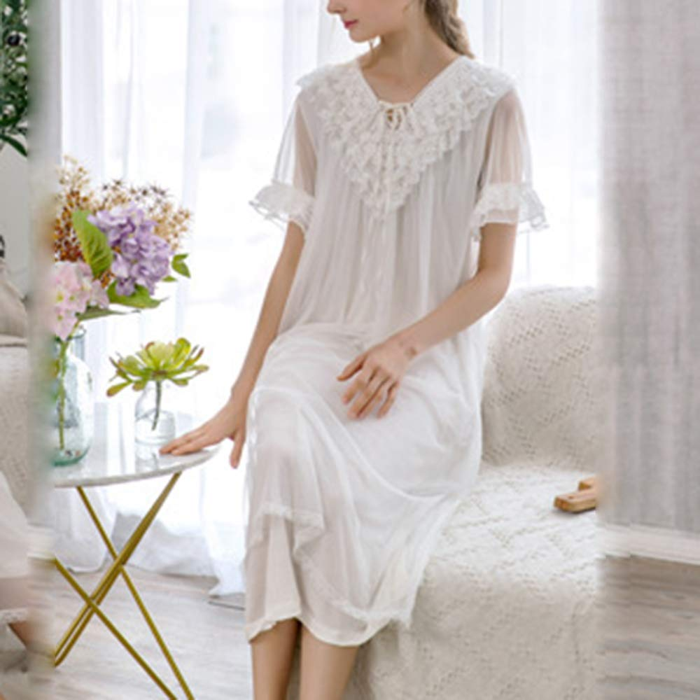 Victorian Nightgowns, Nightdress, Pajamas, Robes Asherbaby Womens Long Victorian Nightgown Lace V Neck Princess Sleepwear Dress $25.99 AT vintagedancer.com