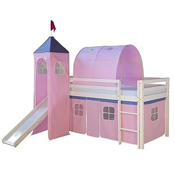 Kinderhochbett mit rutsche  Homestyle4u 1496, Kinder Hochbett mit Rutsche, Leiter, Turm,Tunnel ...
