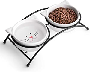 Y YHY Cat Food Bowls, Raised Cat Bowls for Food and Water, Ceramic Cat Bowls Elevated, Cat Dishes for Cat or Small Dogs,12 Ounces, Cute Cat Design, Dishwasher Safe