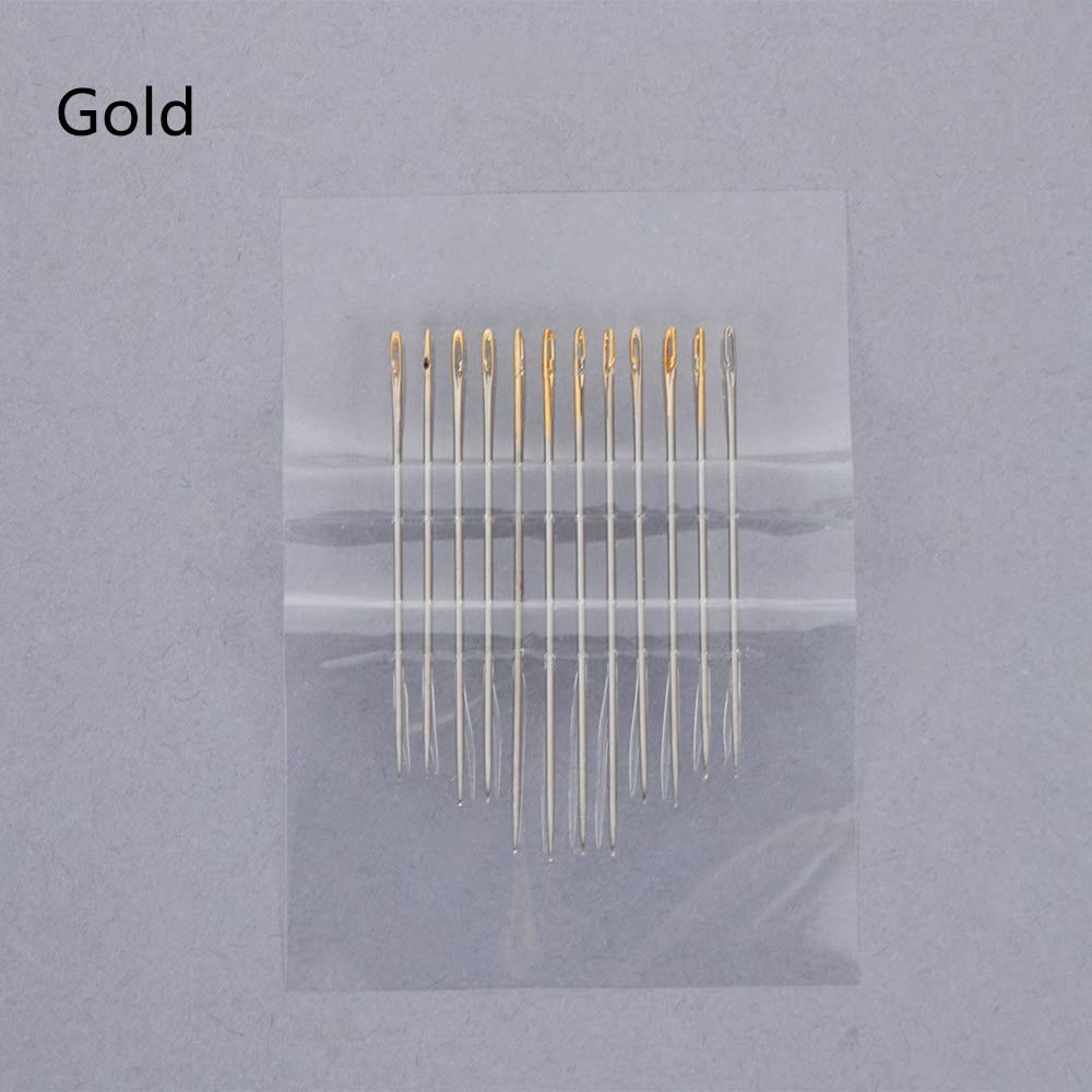 Embroidery Needles - 12pcs/lot Blind Needles Self-Threading Hand Sewing Needles Set Embroidery Tool DIY Needlework Household Tools Sewing Supplies by Embroidery Needles
