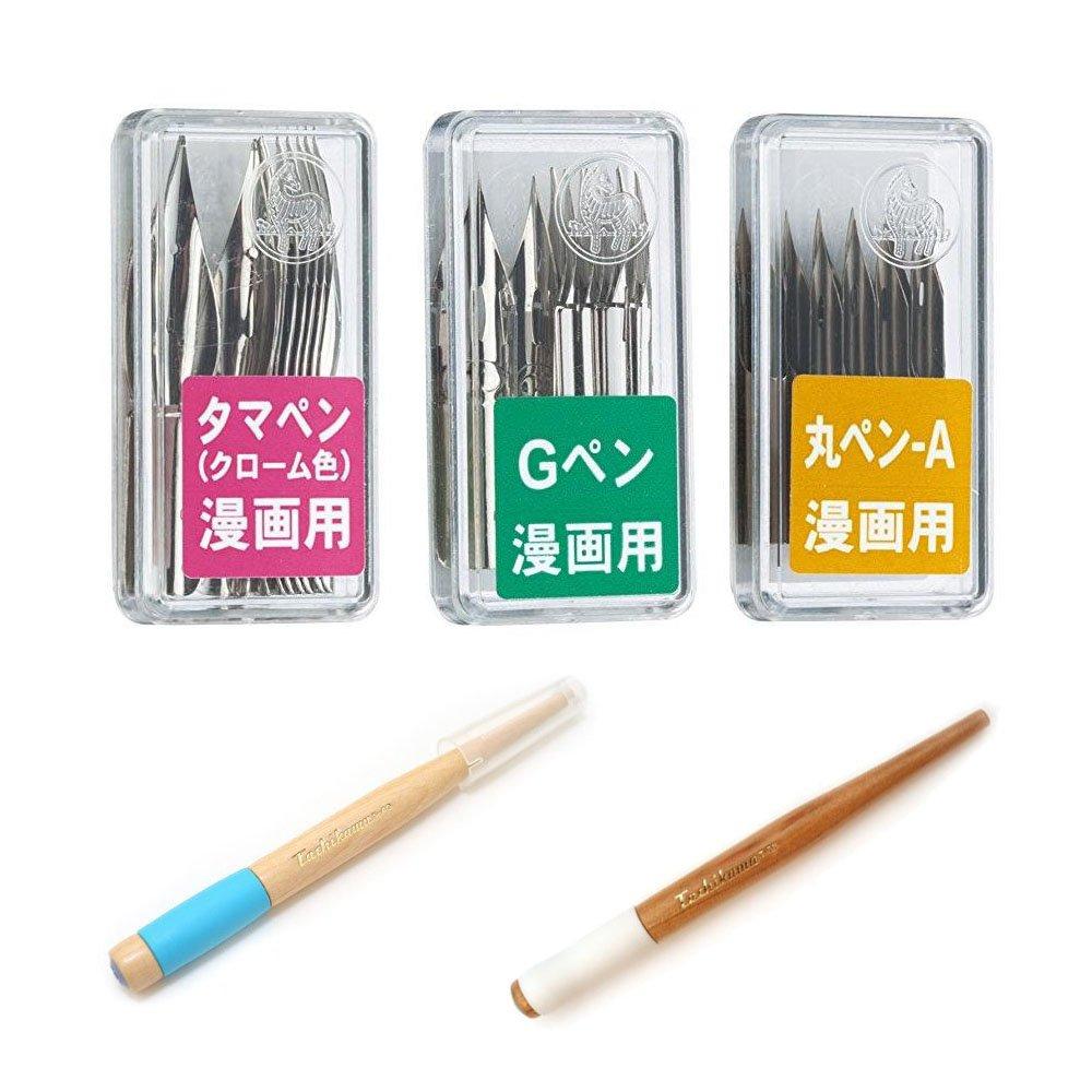 Tachikawa Comic Pen Holder & Zebra Pen Bundle Set , Tachikawa Pen Nib Holder ( T-40 ) , ( T-36W ) + Zebra Pen Nib Chrome ( PG-6B-C-K ) , Mapping ( PM-1C-A-K ) , Tama ( PT-6B-C-K ) by Tachikawa (Image #1)