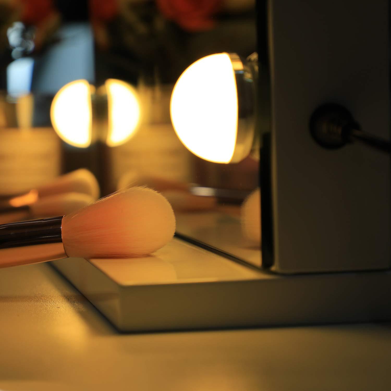contr/ôle Tactile Miroir cosm/étique Blanc WAYKING Miroir de Maquillage Lumineux Hollywood avec lumi/ères LED Plateau de Table ou Montage Mural Grand Miroir cosm/étique avec 12 Ampoules