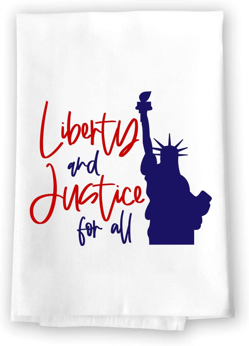 Honey Dew Gifts Kitchen Towels, Liberty and Justice for All, 27 inch by 27 inch, 100% Cotton, Multi-Purpose Flour Sack Towels, Home and Kitchen Decor, Housewarming, Birthday, Fourth of July Gifts
