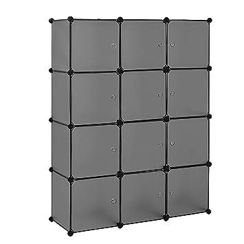 Diy steckregal kunststoff  neu.haus] Regalsystem DIY mit 12 Fächern schwarz [144x110cm ...