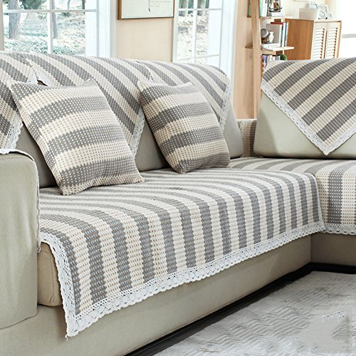 Stripped Sofa Furniture Protector for Pets Dog Kids All Season Sectional Slipcovers l Shape U Shape Cotton and Linen Sofa Slip Cover-1 Piece-D pillowcase18x18inch(45x45cm)