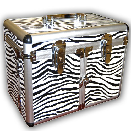 JUMBL™ Zebra Print Cosmetic /Jewelry Train Case