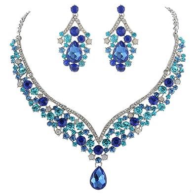 Amazon schmuck  EVER FAITH® österreichischen Kristall V-Form Halskette Ohrring ...