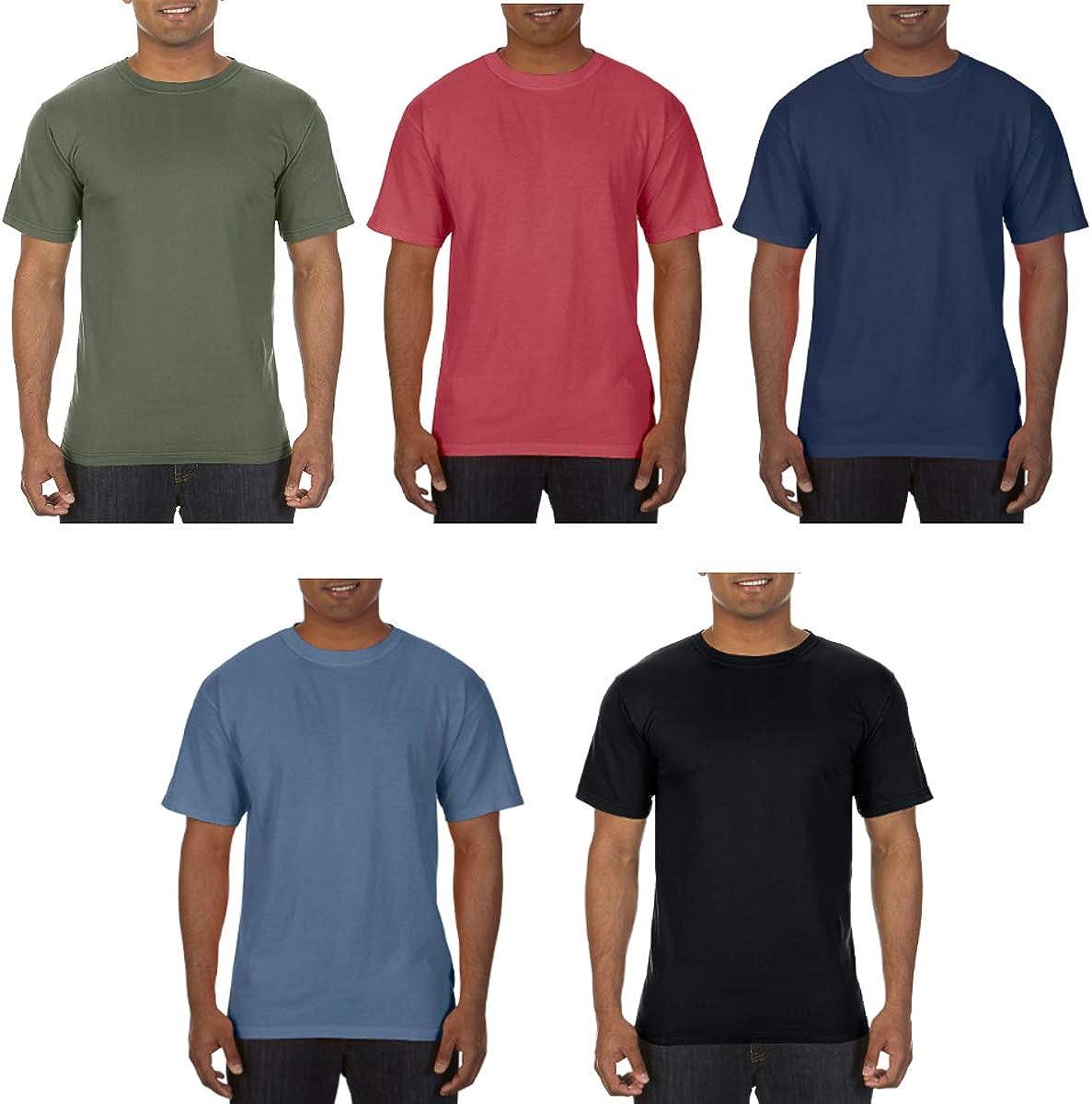 Comfort Colors (5 Pack) T Shirts for Men Garment Dyed T Shirts 100% Cotton Soft Gildan T Shirt Unisex Pack