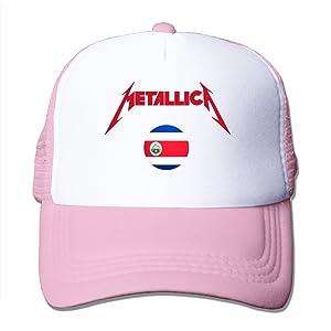 Adult Metallica In Costa Rica Adjustable Mesh Hat Trucker Baseball Cap Pink