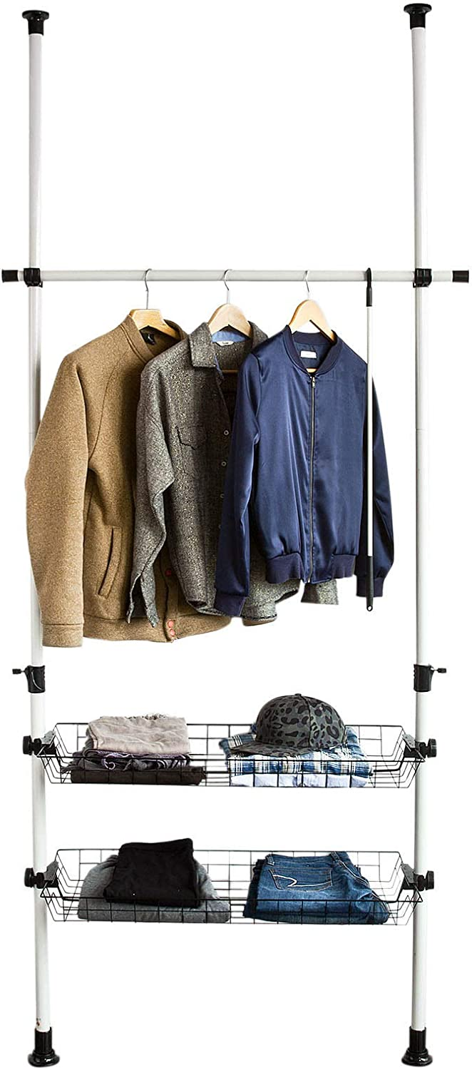 SoBuy® FRG107, Telescopic Wardrobe Organiser, Hanging Rail, Clothes Rack, Height Adjustable Storage Shelving