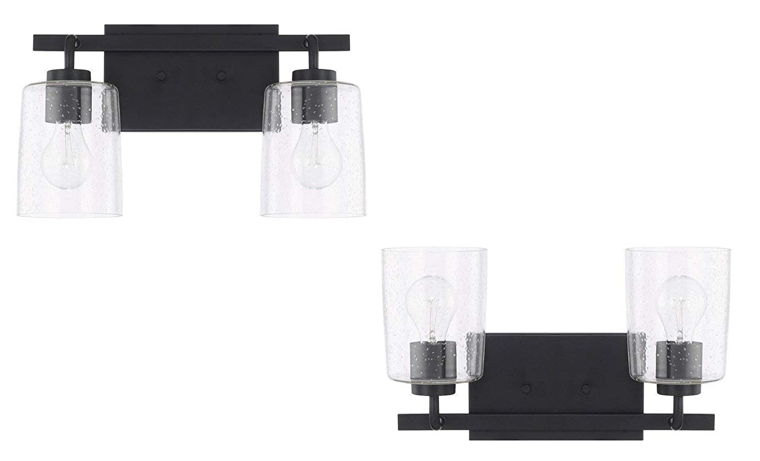 Capital Lighting Homeplace Greyson – Two Light Bath Vanity, Matte Black Finish with Clear Seeded Glass – 2 Pack