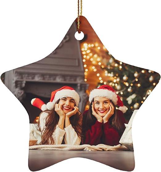 Grande 4 Pack Personalizado De Navidad Árbol de Navidad Colgante Bolas Tu Foto Regalo impreso