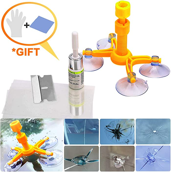 Windshield Repair Kit for Big Crack and Broken Star Chip with Clear Directions,Gloves and Cleaning Cloth