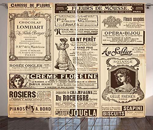 Ambesonne Paris Curtains, Vintage Old Historic Newspaper Journal French Paper Lettering Art Design, Living Room Bedroom Window Drapes 2 Panel Set, 108