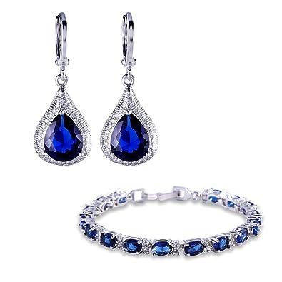 attrayant et durable belles chaussures super service Gulicx Parure Bracelet et Boucles d'oreilles Saphir Plaqué Or Blanc Bleu  Royal,Bijoux Cadeau Pour Femme