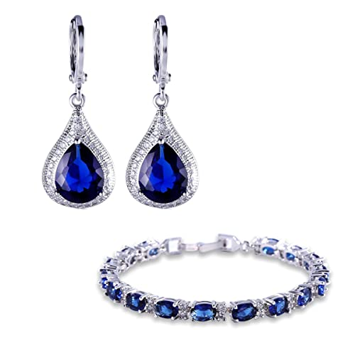 87fd31648145 GULICX Plateado Sapphire Conjunto de joyería de Color Azul Zircon cúbico  Leverback Pendientes de Gota Pulsera Cadena  Amazon.es  Joyería